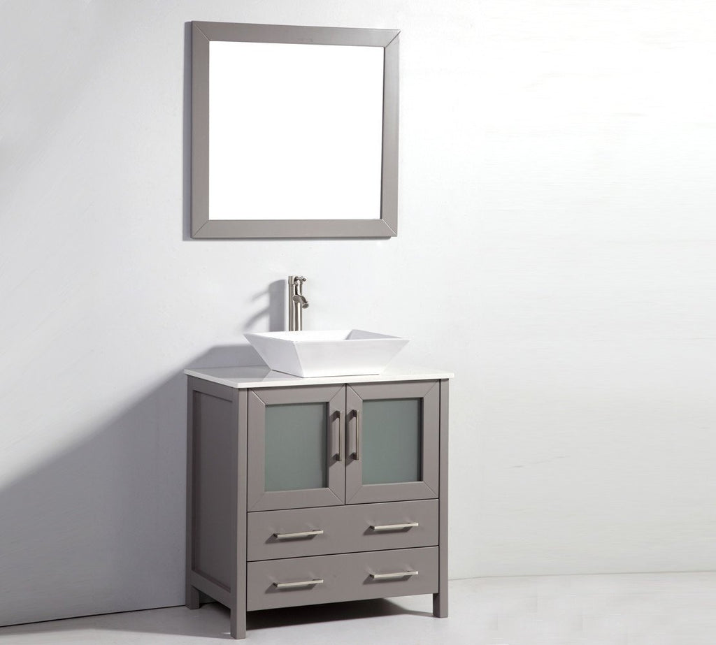 "30"" LIGHT GREY SOLID WOOD SINK VANITY WITH MIRROR WA7830LG"