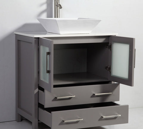 "Image of 30"" LIGHT GREY SOLID WOOD SINK VANITY WITH MIRROR WA7830LG"