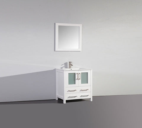 "Image of 30"" WHITE SOLID WOOD SINK VANITY WITH MIRROR WA7930W"