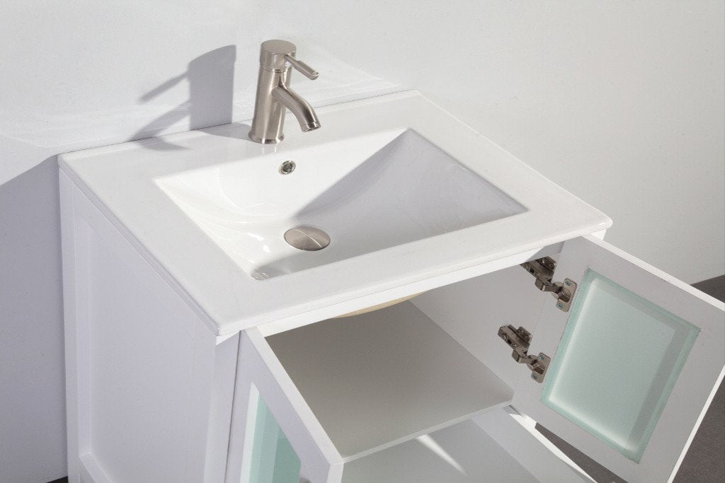 "30"" WHITE SOLID WOOD SINK VANITY WITH MIRROR WA7930W"