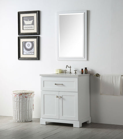 "Image of 30"" WOOD SINK VANITY WITH QUARTZ OP-NO FAUCET IN WHITE WH7630-W"