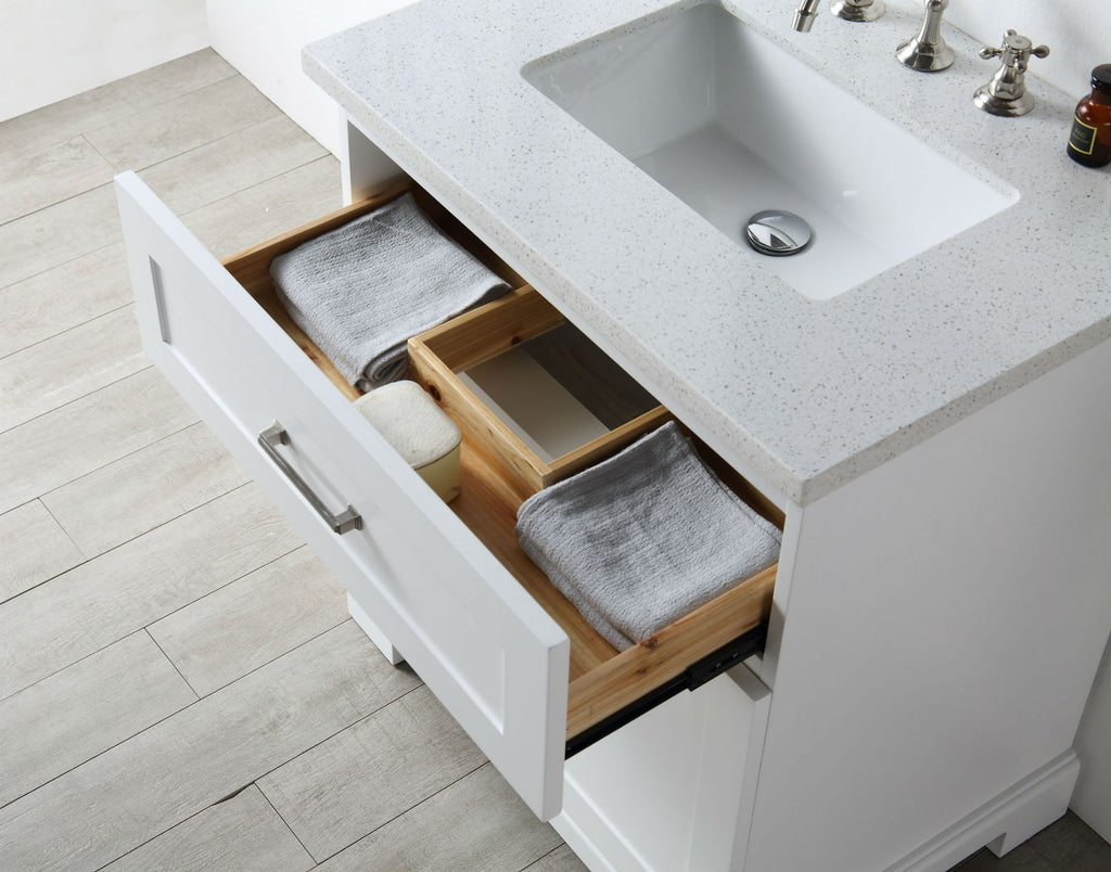"30"" WOOD SINK VANITY WITH QUARTZ OP-NO FAUCET IN WHITE WH7630-W"
