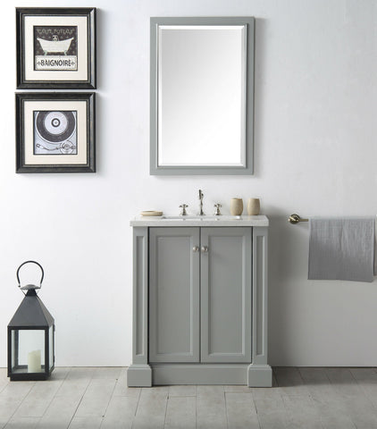 "Image of 30"" WOOD SINK VANITY WITH QUARTZ TOP-NO FAUCET IN COOL GREY WH7230-CG"