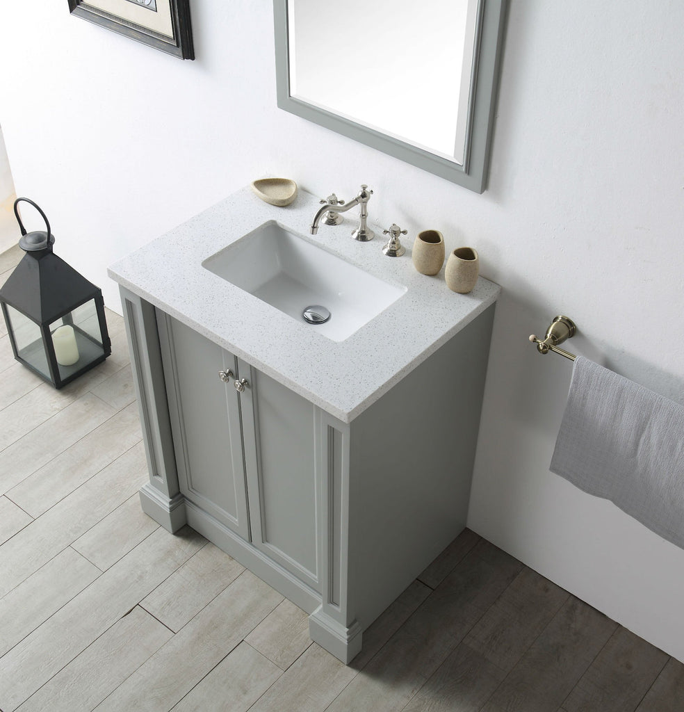 "30"" WOOD SINK VANITY WITH QUARTZ TOP-NO FAUCET IN COOL GREY WH7230-CG"