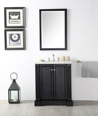 "Image of 30"" WOOD SINK VANITY WITH QUARTZ TOP-NO FAUCET IN ESPRESSO WH7230-E"