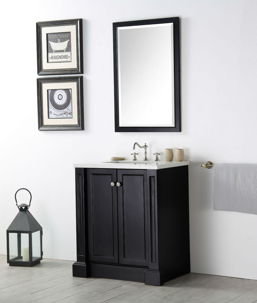 "30"" WOOD SINK VANITY WITH QUARTZ TOP-NO FAUCET IN ESPRESSO WH7230-E"