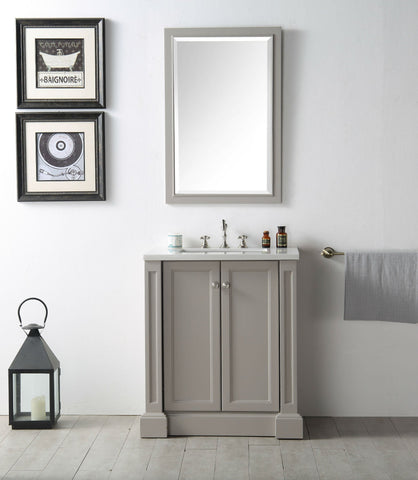 "Image of 30"" WOOD SINK VANITY WITH QUARTZ TOP-NO FAUCET IN WARM GREY WH7230-WG"