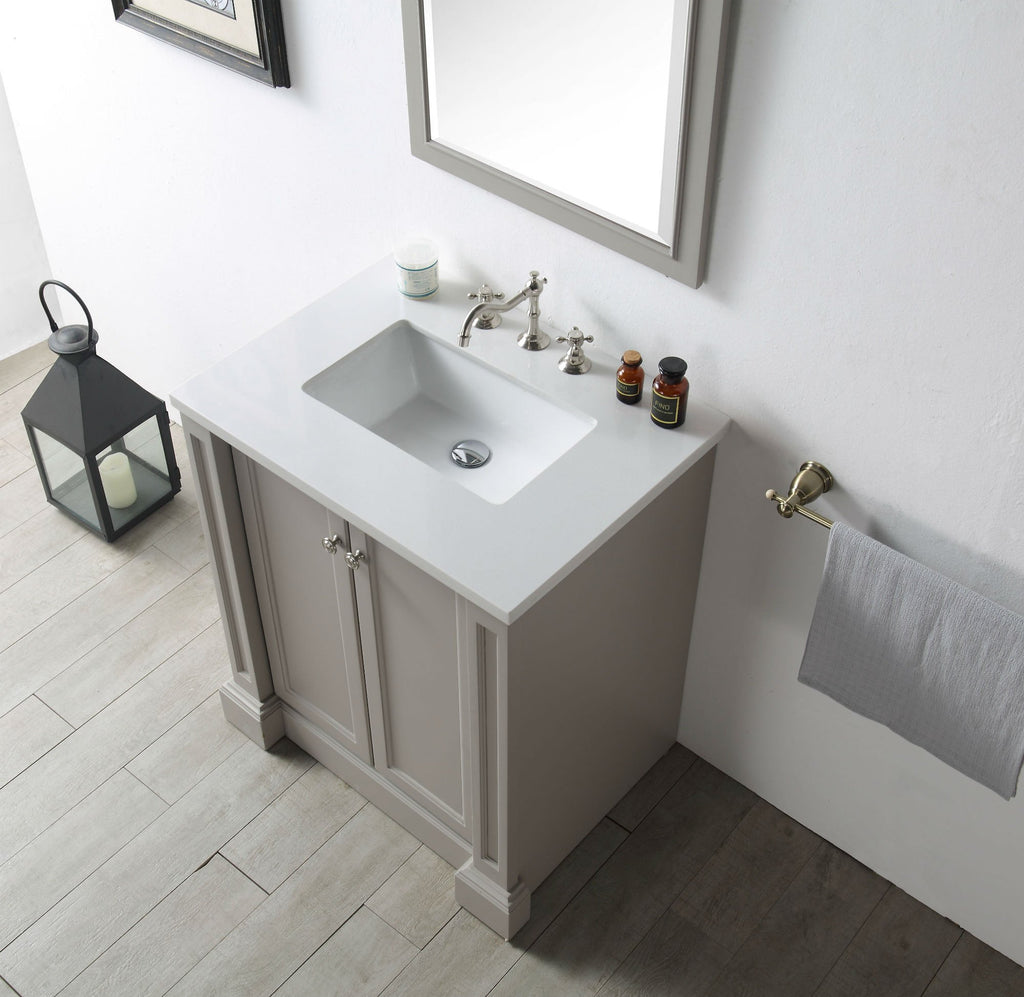 "30"" WOOD SINK VANITY WITH QUARTZ TOP-NO FAUCET IN WARM GREY WH7230-WG"