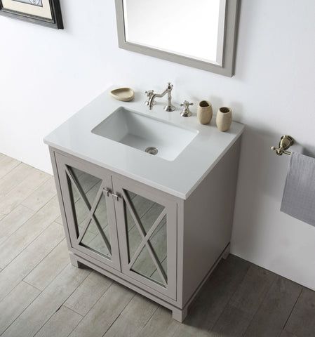 "Image of 30"" WOOD SINK VANITY WITH QUARTZ TOP-NO FAUCET IN WARM GREY WH7430-WG"