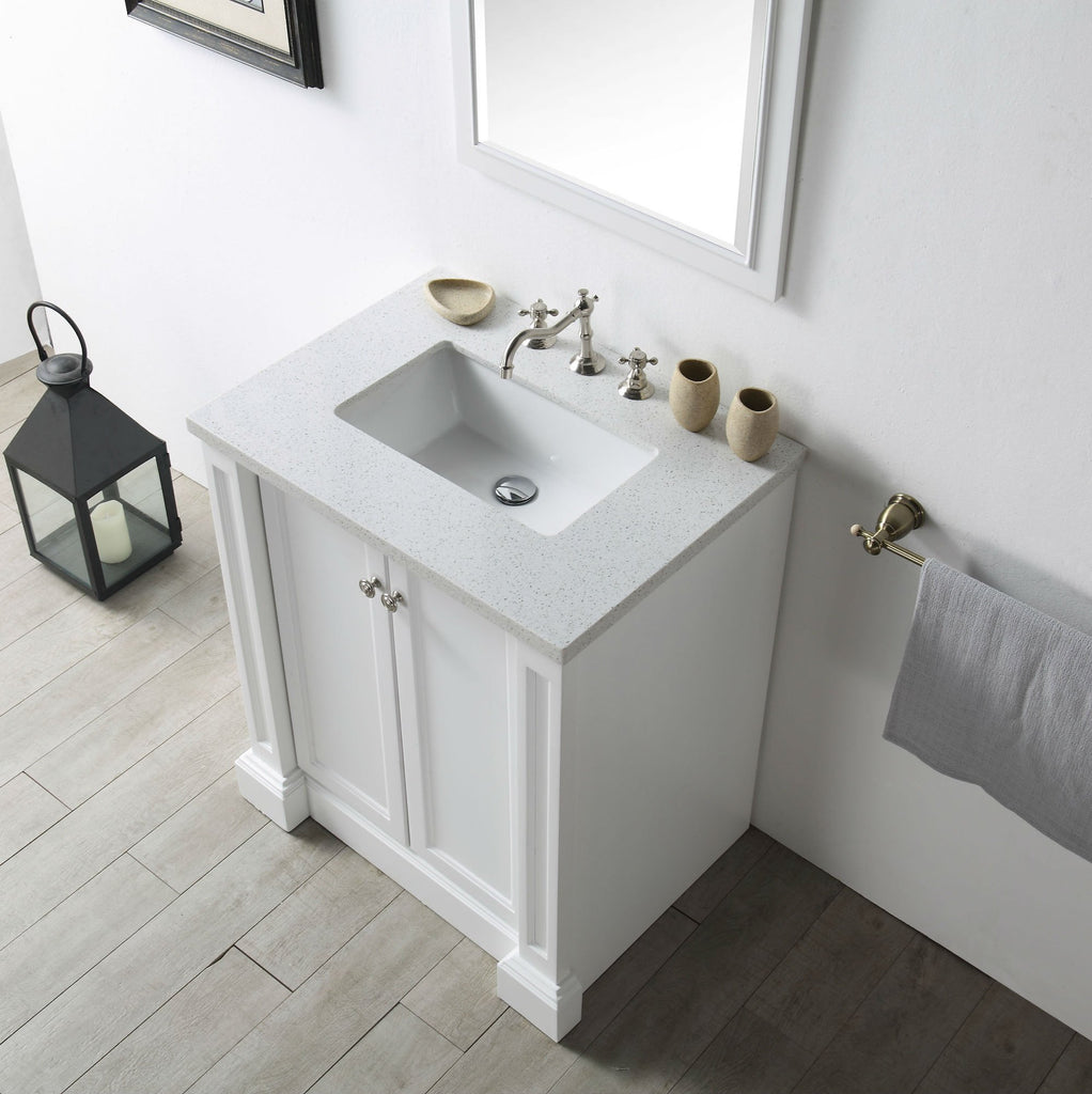 "30"" WOOD SINK VANITY WITH QUARTZ TOP-NO FAUCET IN WHITE WH7230-W"