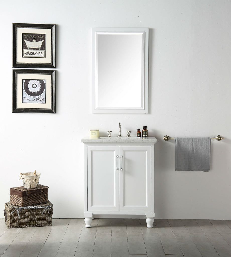 "30"" WOOD SINK VANITY WITH QUARTZ TOP-NO FAUCET IN WHITE WH7530-W"