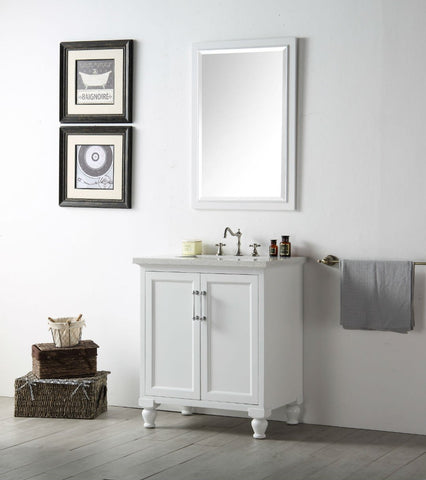 "Image of 30"" WOOD SINK VANITY WITH QUARTZ TOP-NO FAUCET IN WHITE WH7530-W"