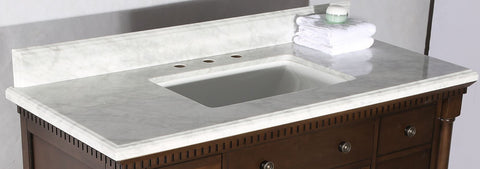 "36"" ANTIQUE COFFEE SINK VANITY WITH CARRARA WHITE TOP AND MATCHING BACKSPLASH WITHOUT FAUCET WLF6036-36"""