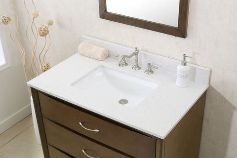 "Image of 36"" ANTIQUE COFFEE SINK VANITY WITH QUARTZ TOP WLF7030-36"