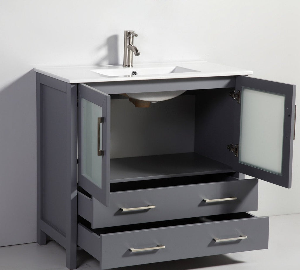 "36"" DARK GREY SOLID WOOD SINK VANITY WITH MIRROR WA7936DG"