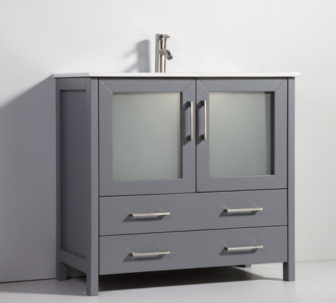 "Image of 36"" DARK GREY SOLID WOOD SINK VANITY WITH MIRROR WA7936DG"