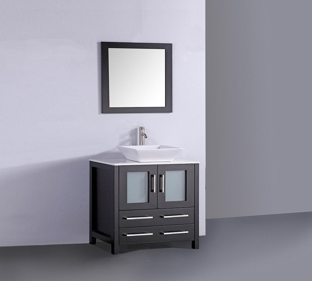 "36"" ESPRESSO SOLID WOOD SINK VANITY WITH MIRROR WA7836E"
