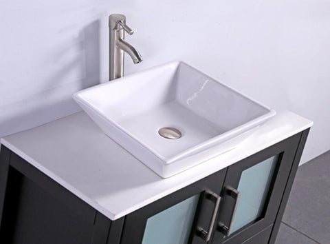 "Image of 36"" ESPRESSO SOLID WOOD SINK VANITY WITH MIRROR WA7836E"