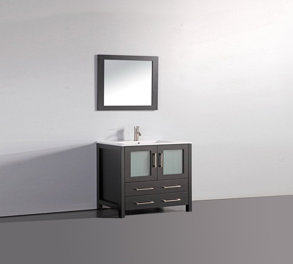 "36"" ESPRESSO SOLID WOOD SINK VANITY WITH MIRROR WA7936E"