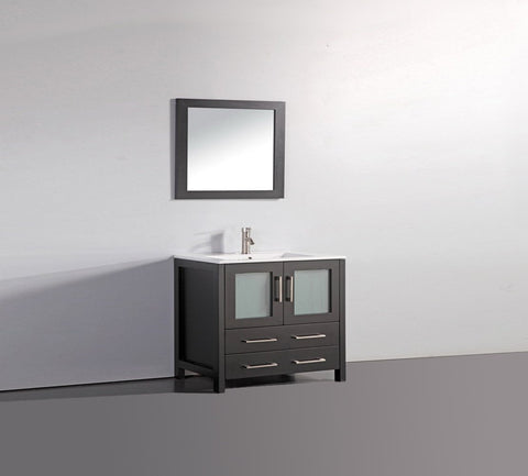 "Image of 36"" ESPRESSO SOLID WOOD SINK VANITY WITH MIRROR WA7936E"