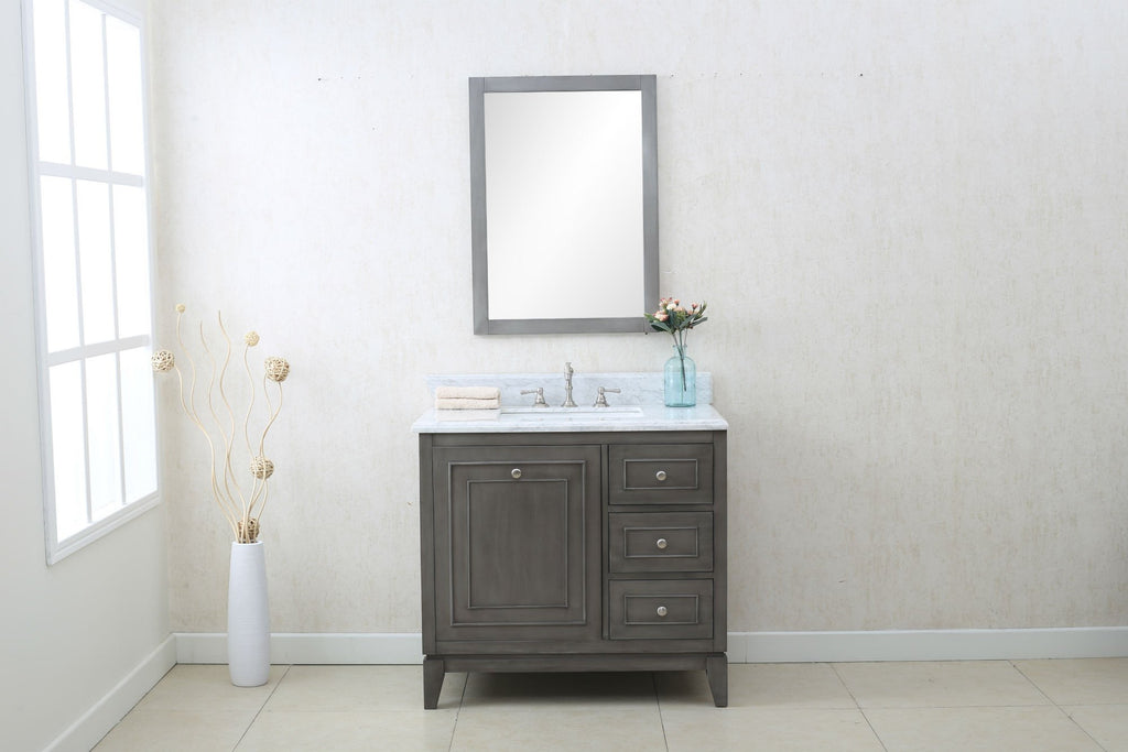 "36"" SILVER GRAY SINK VANITY CABINET MATCH WITH WLF6036-37 TOP, NO FAUCET WLF7034-36"