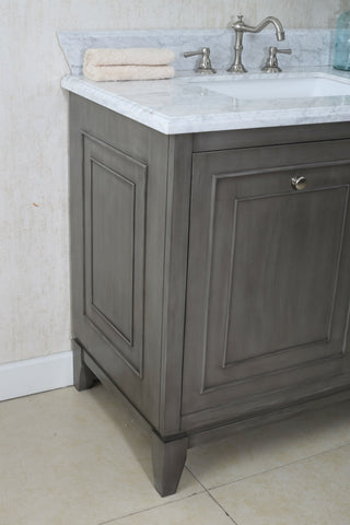 "Image of 36"" SILVER GRAY SINK VANITY CABINET MATCH WITH WLF6036-37 TOP, NO FAUCET WLF7034-36"