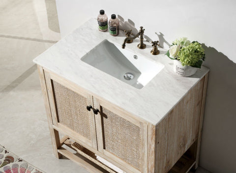 "36"" SOLID WOOD SINK VANITY WITH MARBLE TOP-NO FAUCET WH5136"