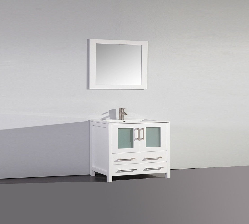 "36"" WHITE SOLID WOOD SINK VANITY WITH MIRROR WA7936W"