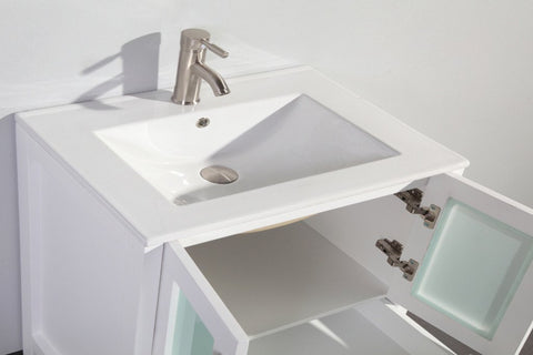 "Image of 36"" WHITE SOLID WOOD SINK VANITY WITH MIRROR WA7936W"