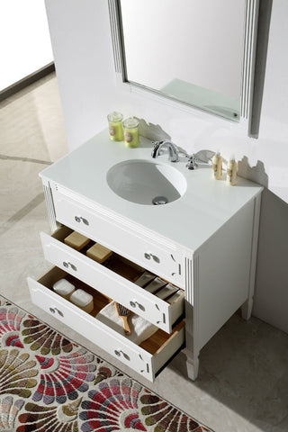 "Image of 36""  WOOD SINK VANITY WITH ARTIFICIAL STONE TOP-NO FAUCET WH6136"