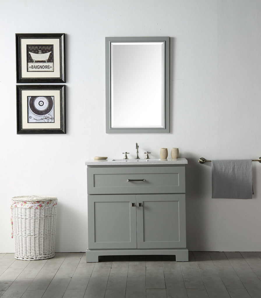 "36"" WOOD SINK VANITY WITH QUARTZ OP-NO FAUCET IN COOL GREY WH7636-CG"