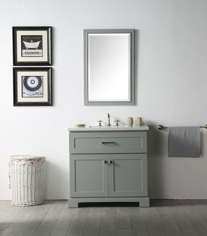 "Image of 36"" WOOD SINK VANITY WITH QUARTZ OP-NO FAUCET IN COOL GREY WH7636-CG"