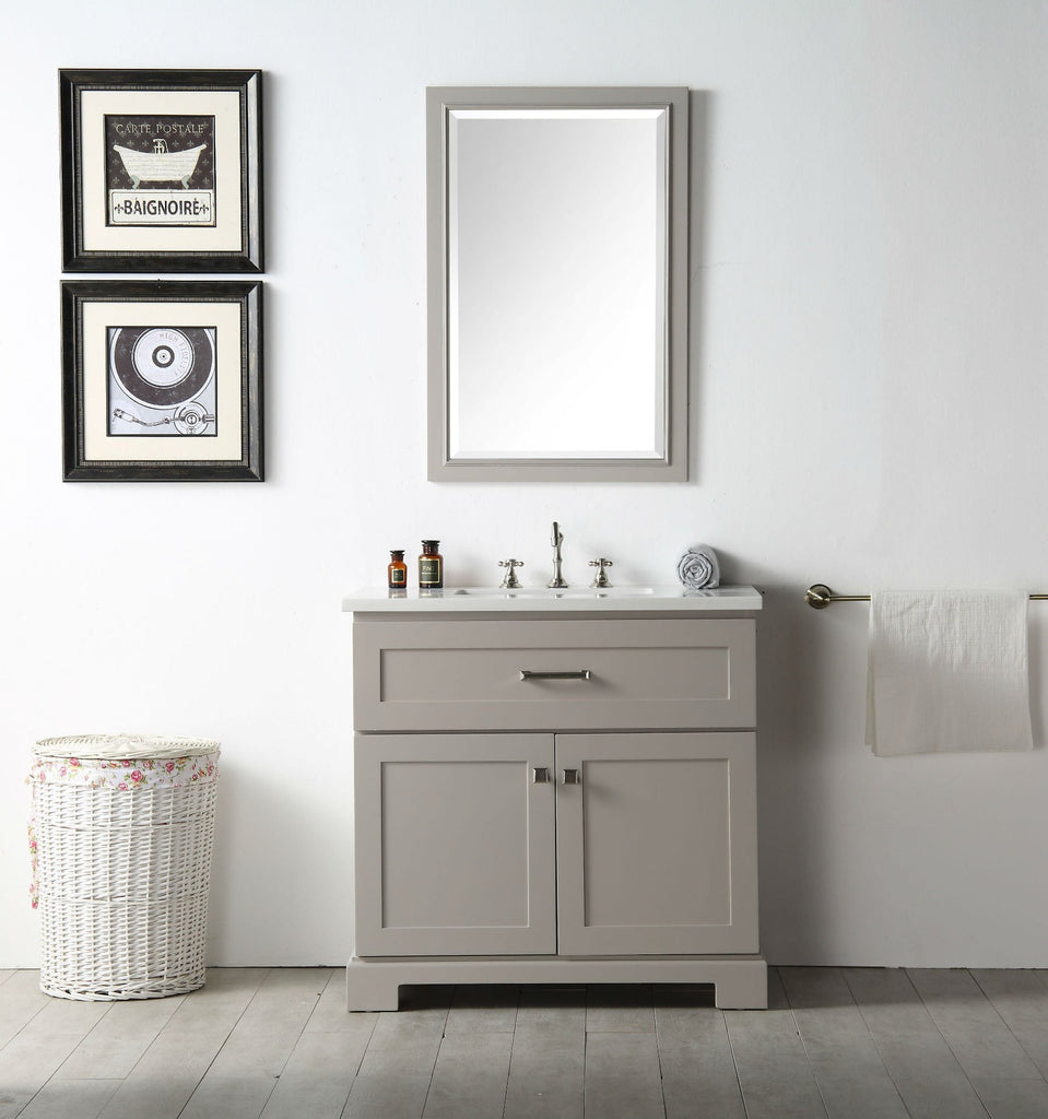 "36"" WOOD SINK VANITY WITH QUARTZ OP-NO FAUCET IN WARM GREY WH7636-WG"