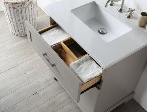 "Image of 36"" WOOD SINK VANITY WITH QUARTZ OP-NO FAUCET IN WARM GREY WH7636-WG"