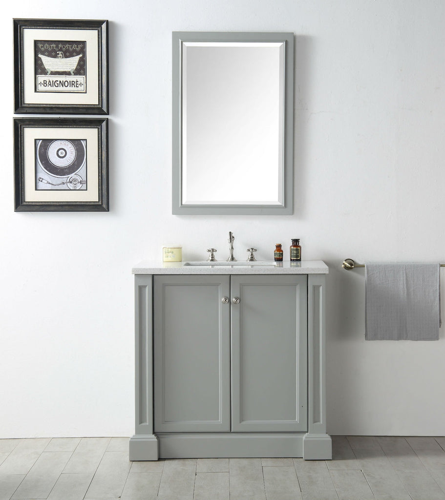 "36"" WOOD SINK VANITY WITH QUARTZ TOP-NO FAUCET IN COOL GREY WH7236-CG"