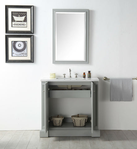 "Image of 36"" WOOD SINK VANITY WITH QUARTZ TOP-NO FAUCET IN COOL GREY WH7236-CG"