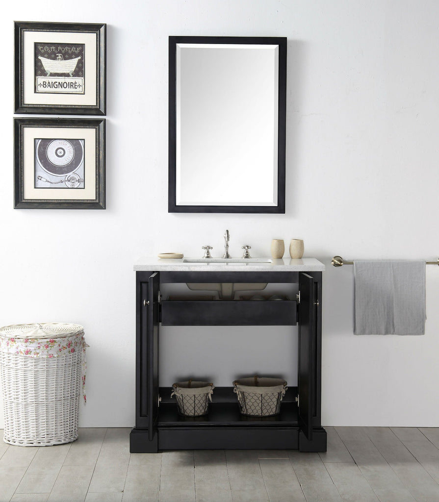 "36"" WOOD SINK VANITY WITH QUARTZ TOP-NO FAUCET IN ESPRESSO WH7236-E"