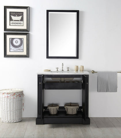 "Image of 36"" WOOD SINK VANITY WITH QUARTZ TOP-NO FAUCET IN ESPRESSO WH7236-E"