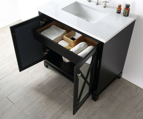 "Image of 36"" WOOD SINK VANITY WITH QUARTZ TOP-NO FAUCET IN ESPRESSO WH7436-E"