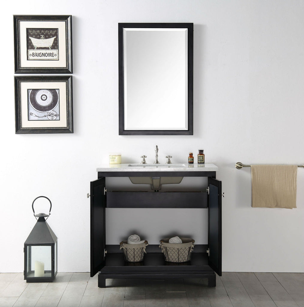 "36"" WOOD SINK VANITY WITH QUARTZ TOP-NO FAUCET IN ESPRESSO WH7436-E"