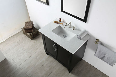"Image of 36"" WOOD SINK VANITY WITH QUARTZ TOP-NO FAUCET IN ESPRESSO WH7536-E"