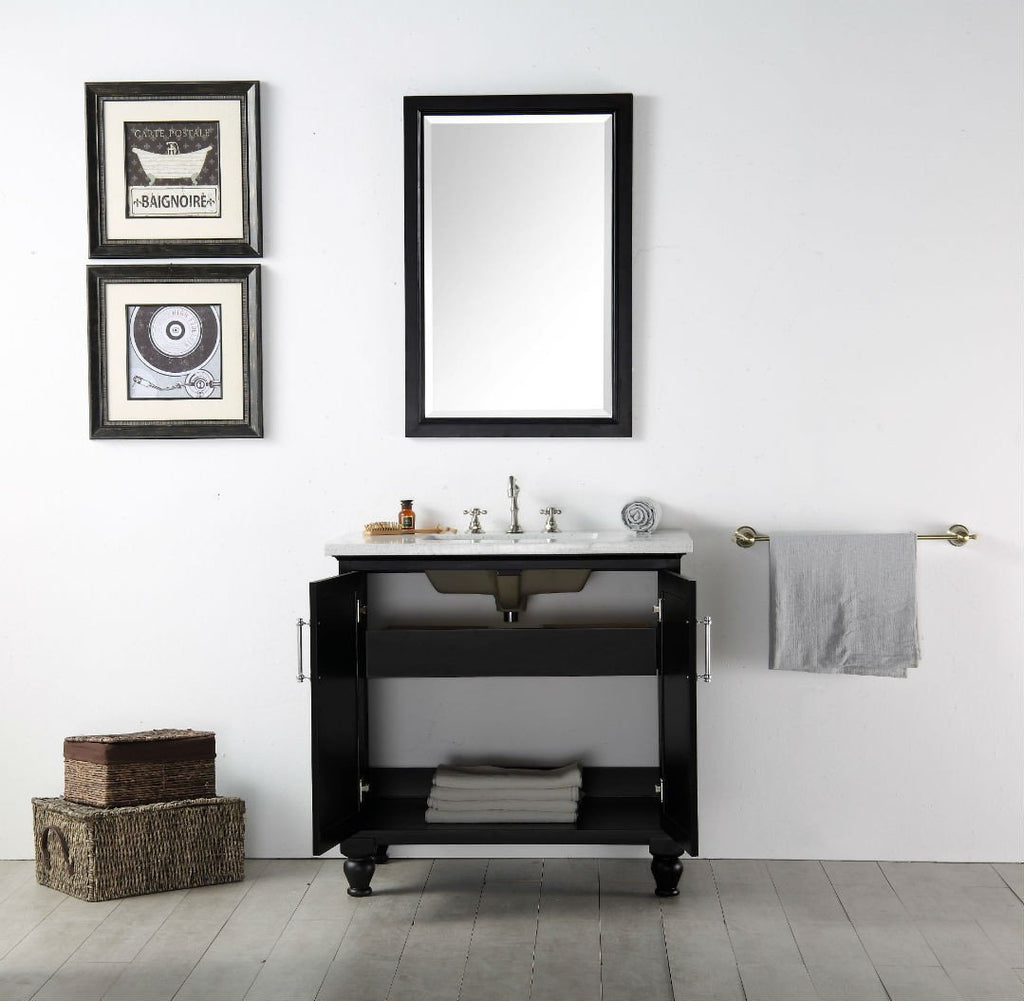 "36"" WOOD SINK VANITY WITH QUARTZ TOP-NO FAUCET IN ESPRESSO WH7536-E"