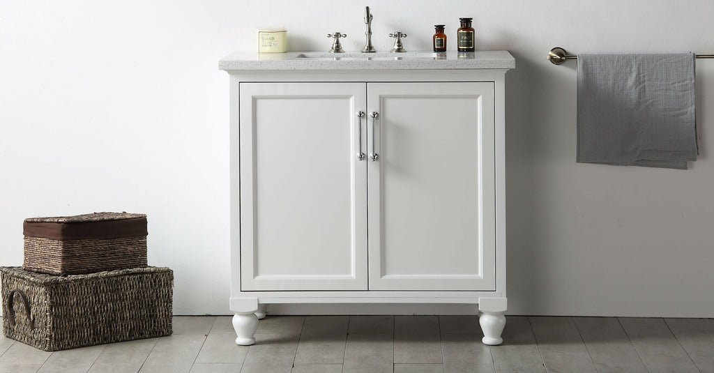 "36"" WOOD SINK VANITY WITH QUARTZ TOP-NO FAUCET IN WHITE WH7536-W"