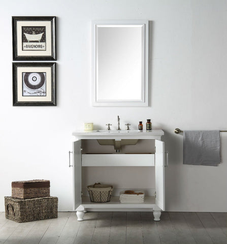 "Image of 36"" WOOD SINK VANITY WITH QUARTZ TOP-NO FAUCET IN WHITE WH7536-W"