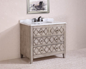 "40"" SOLID WOOD SINK VANITY WITH MARBLE TOP-NO FAUCET AND BACKSPLASH WH3940"