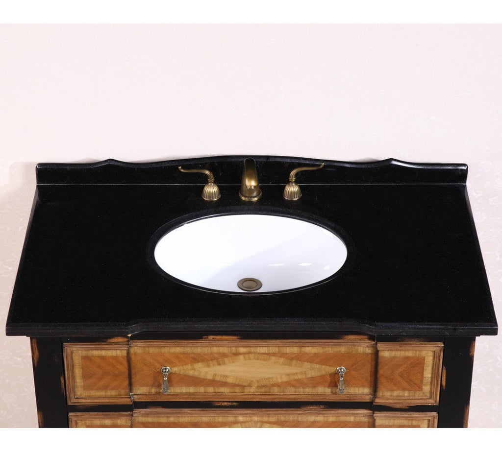 "44"" SOLID WOOD SINK VANITY WITH GRANITE-NO FAUCET AND BACKSPLASH WH2144"