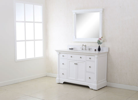 "48"" ANTIQUE COFFEE SINK VANITY WITH CARRARA WHITE TOP AND MATCHING BACKSPLASH WITHOUT FAUCET WLF6036-48"""