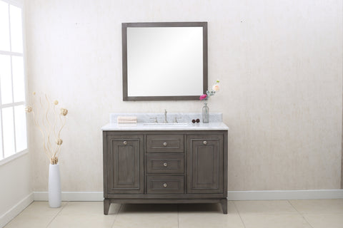 "Image of 48"" SILVER GRAY SINK VANITY CABINET MATCH WITH WLF6036-49 TOP, NO FAUCET WLF7034-48"