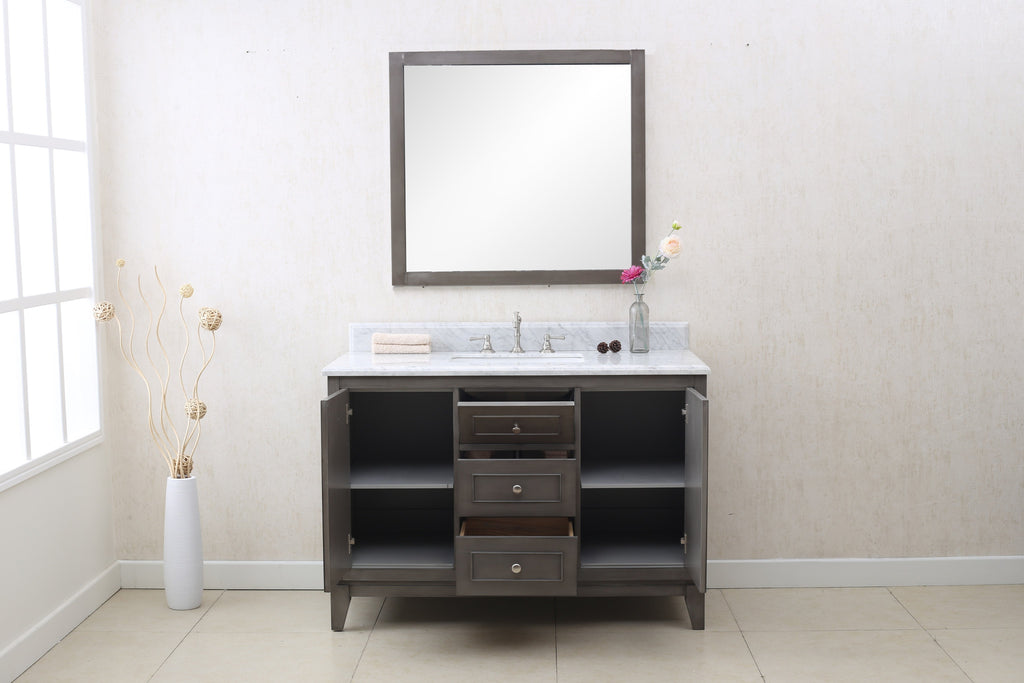 "48"" SILVER GRAY SINK VANITY CABINET MATCH WITH WLF6036-49 TOP, NO FAUCET WLF7034-48"