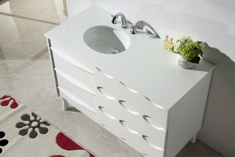 "Image of 48"" SOLID WOOD SINK VANITY WITH ARTIFICIAL STONE-NO FAUCET WH5048"